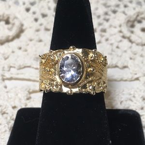 Vintage Gold Tone CZ Statement Ring